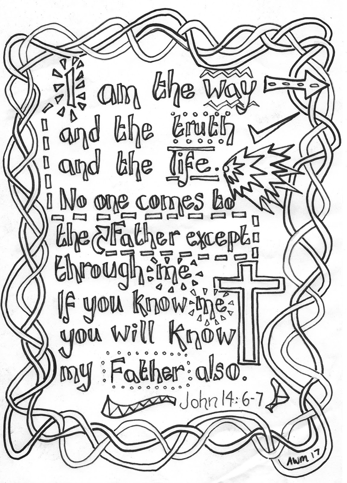 Flame Creative Children S Ministry Reflective Colouring Sheet John 14 6 7 I Am The Way The