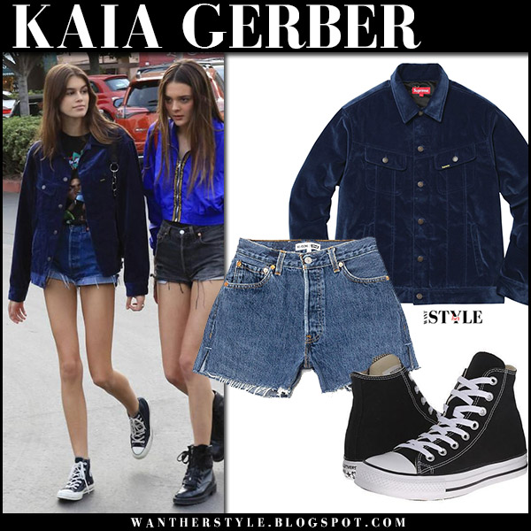 Kaia Gerber in navy velvet jacket supreme and denim shorts re/done model street style december 10