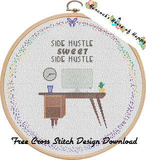 free side hustle cross stitch pattern to download
