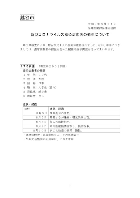 新型コロナウイルス感染症患者の発生について(8月11日発表)
