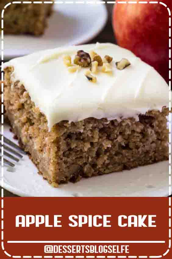 This apple spice cake with cream cheese frosting is packed with flavor, filled with cinnamon, and has a delicious caramel undertone thanks to brown sugar. Then topped with fluffy cream cheese frosting – it's the perfect cake for fall! #DessertsBlogSelfe #applespicecake #applecake #fall #dessert #recipe #easy #fromscratch #fresh #creamcheeseicing #creamcheesefrosting #FallDesserts