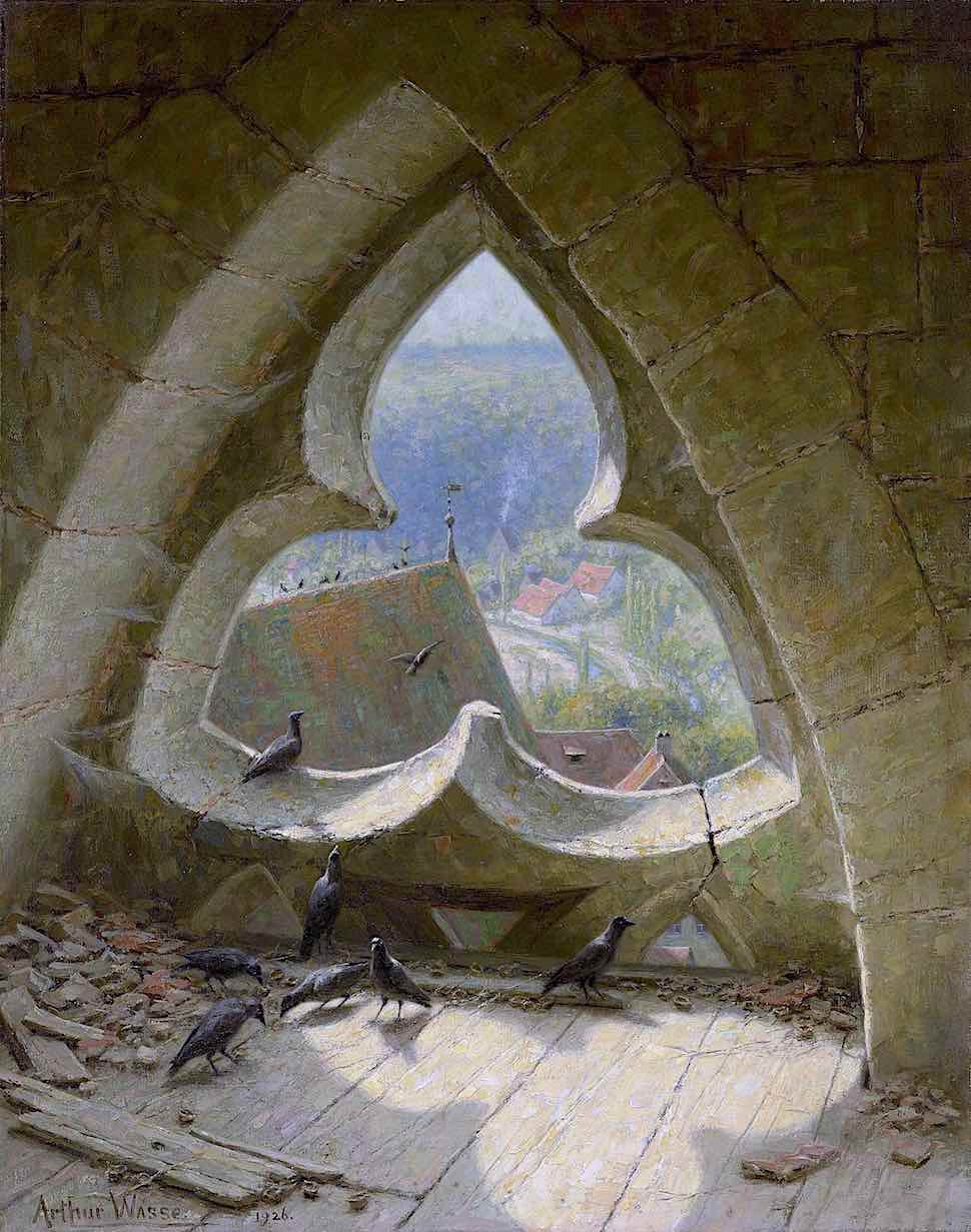 an Arthur Wasse painting 1926, of birds atop church ruins