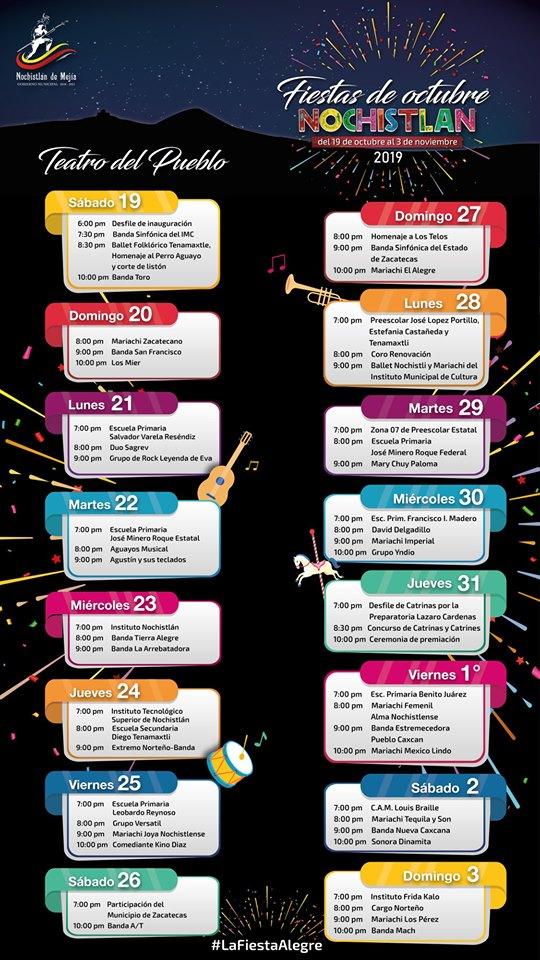 programa fiestas de octubre Nochistlán 2019