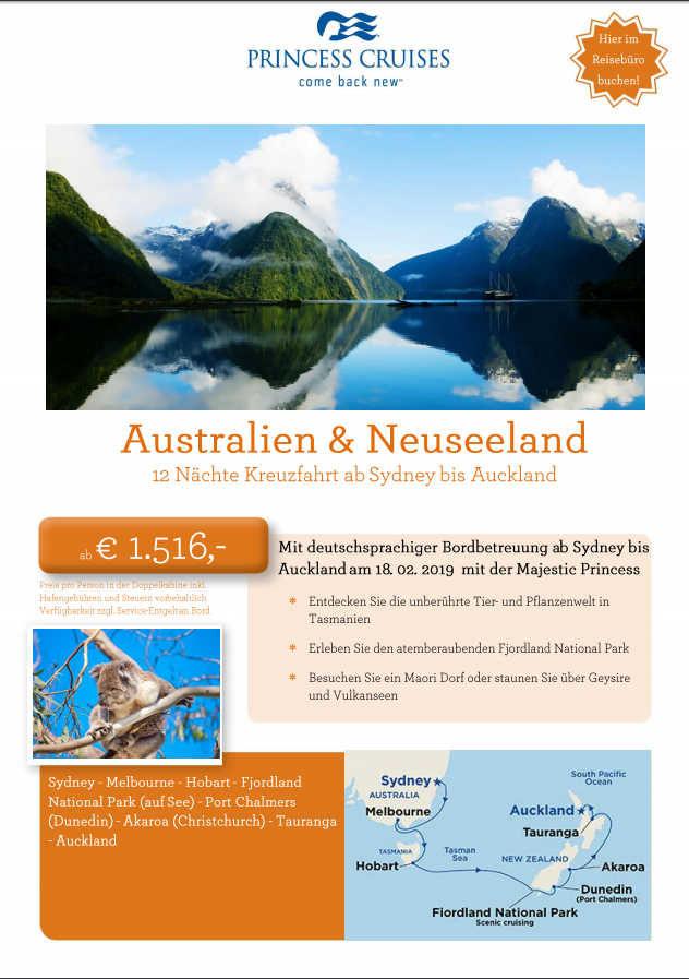 Kreuzfahrt Australien Neuseeland mit Majestic Princess