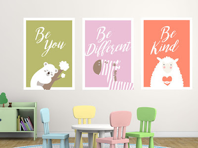Mama Love Print Printable - BB房掛牆裝飾動物海報分享 免費下載 Nursey Poster Colorful Animals Free Printable Pack Download