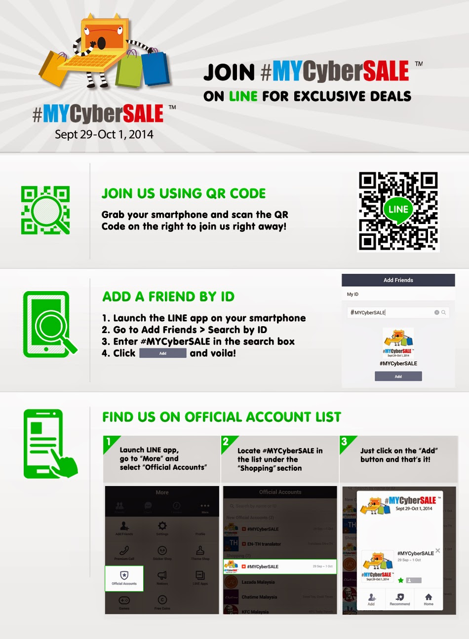 How to follow #MYCyberSALE on LINE