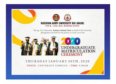 NAUB matriculation ceremony