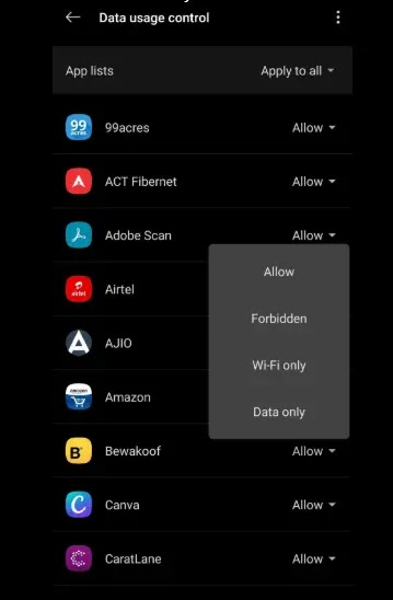 اختر Allow /  Forbidden / Wi-Fi only / Data only