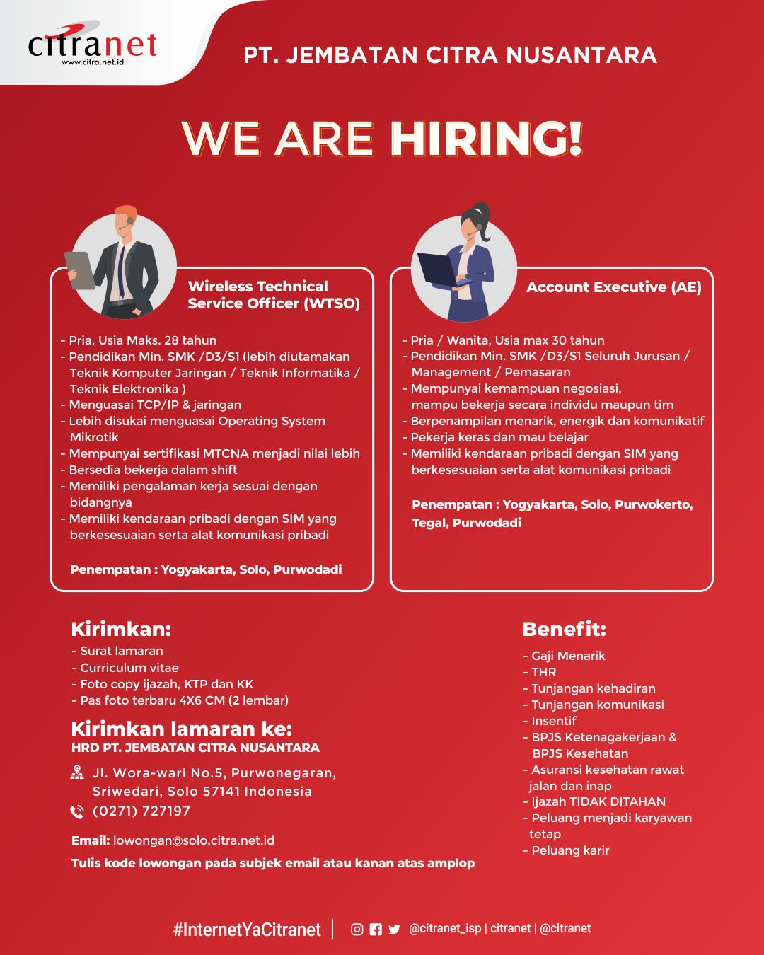 Lowongan Kerja Citranet Posisi Wireless Technical Service Officer Dan Account Executive Loker Swasta