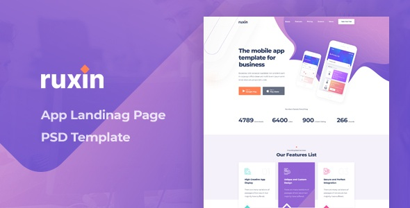 Download App Landing Page PSD Template