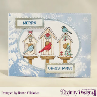 Custom Dies: Scalloped Rectangles, Scalloped Ovals, Stamp Set: Christmas Birdhouses, Paper Collection: Christmas 2019