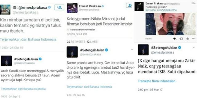 Sejumlah cuitan Ernest Prakasa yang dinilai menghina Islam dan rasis. Foto via Twitter