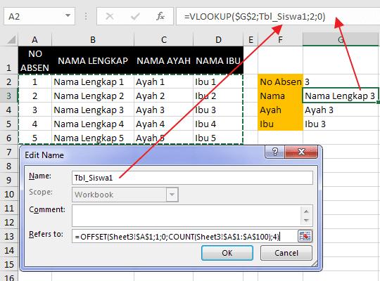 Cara Membuat Nama Range Dinamis pada Excel 4