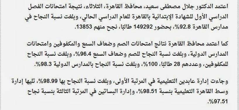 بالقاهره 2014 الترم الاول نتيجة امتحانات الشهاده الابتدائيه
