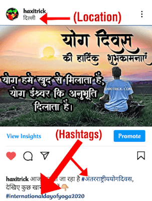 use hashtags and tag location