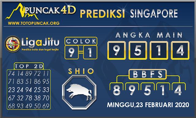 PREDIKSI TOGEL SINGAPORE PUNCAK4D 23 FEBRUARI 2020