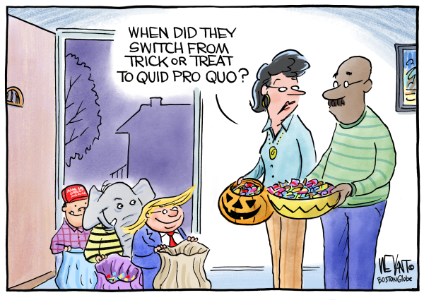 Couple facing a group of trick-or-treaters costumed as a Republican Elephant, Donald Trump, and a MAGA hat wearer.  Wife asks husband,