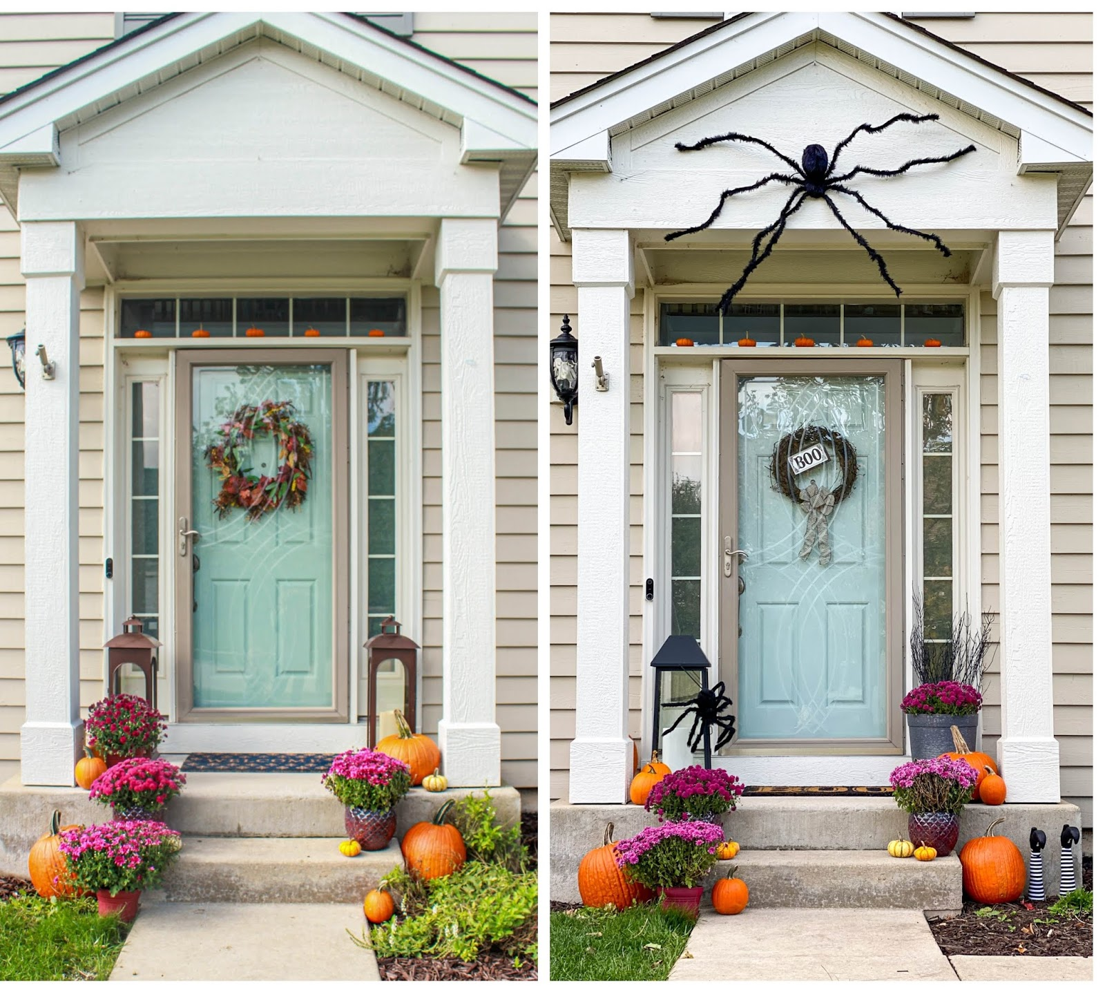 fall and halloween decor front porch