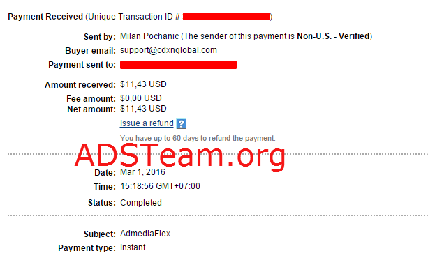 Admedia Flex Payment Proof