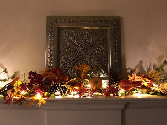 Autumn garland with fairy lights
