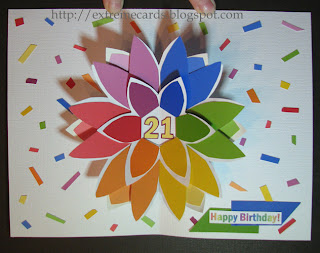 paint chip pop up card flower