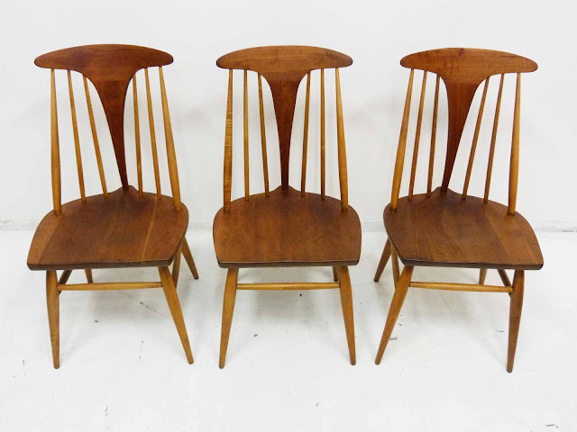 Heywood Wakefield Dowel High Back Mid-Century Doeskin Dining Chairs Set 2 Front