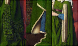 Jan van Eyck's Arnolfini Portrait includes large amount of luxury fabrics and white fur or ermine fur on Giovanna Arnolfini