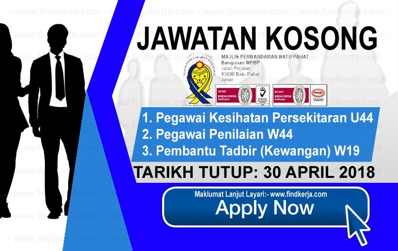 Jawatan Kerja Kosong MPBP - Majlis Perbandaran Batu Pahat logo www.findkerja.com april 2018