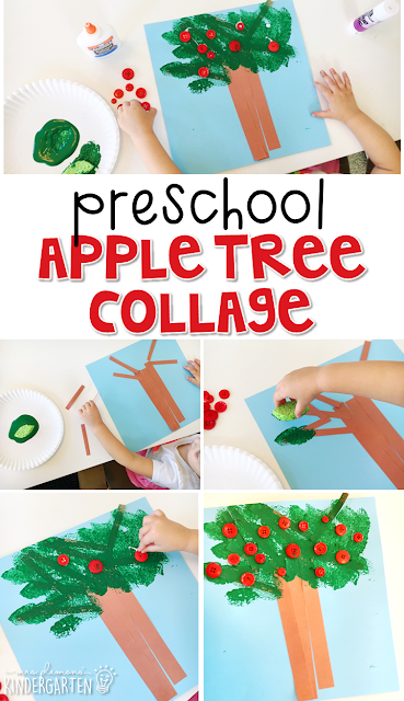 This apple tree collage is an adorable craft that incorporates lots of fine motor skills practice. Great for tot school, preschool, or even kindergarten!