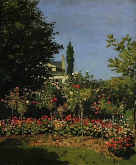Jardim florido, pintura de Monet.