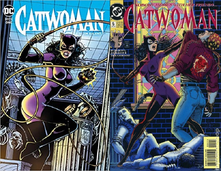 Two Catwoman covers, each showing her in a purple suit, twirling her whip and snarling, the first in a museum - she is clutching a gemstone, the second in an alley, with two hoodlums at her feet, she's holding a third up by his jacket
