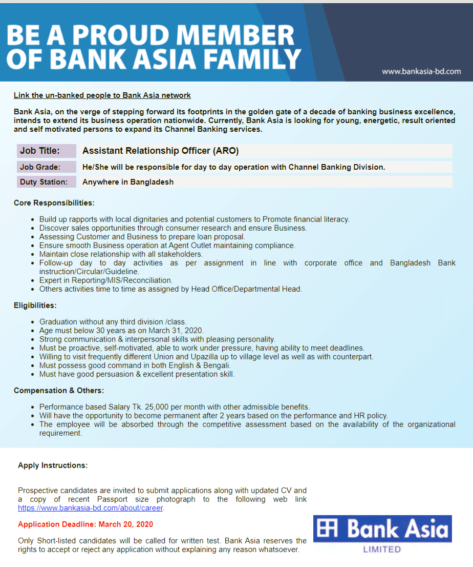 Bank Asia Ltd New Job Circular 2020
