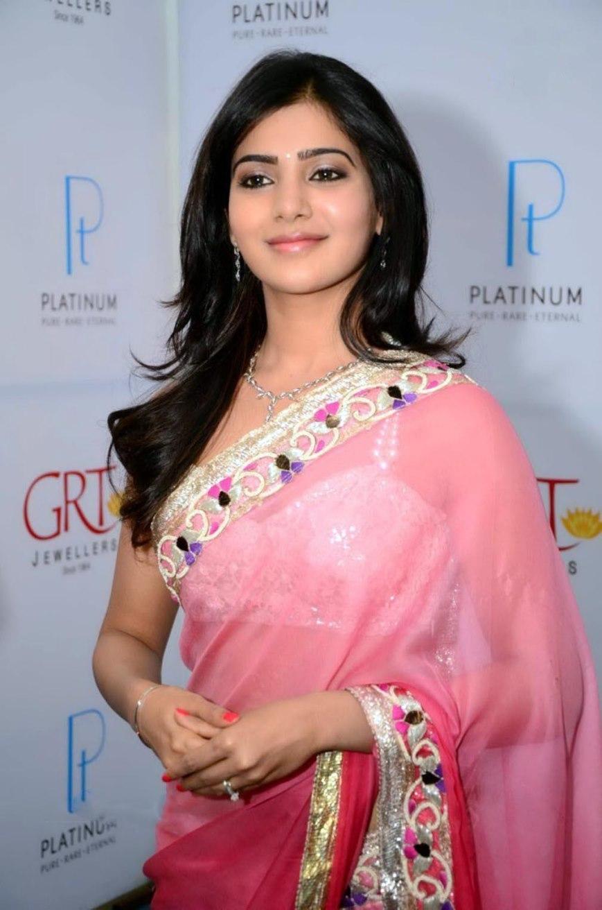 Samantha Hot Images In Pink Saree