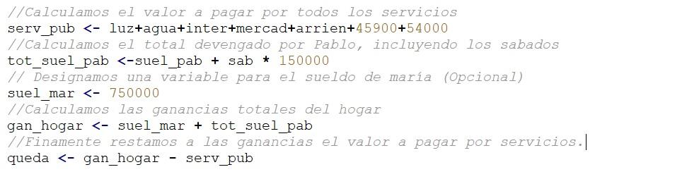 Calcular gastos mensuales de un hogar algoritmo en Pseint