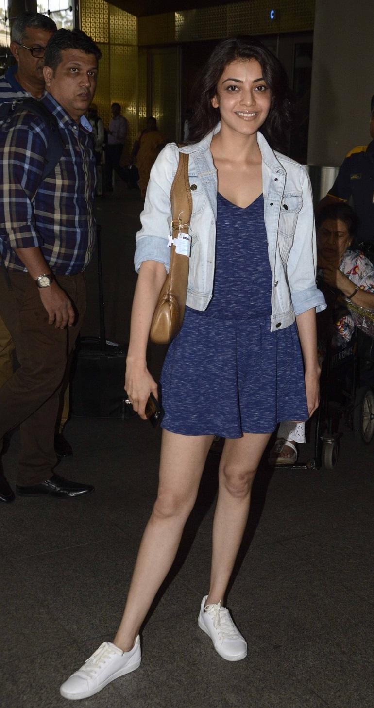 Glamorous Kajal Agarwal Without Make Up Face Photos In Airport