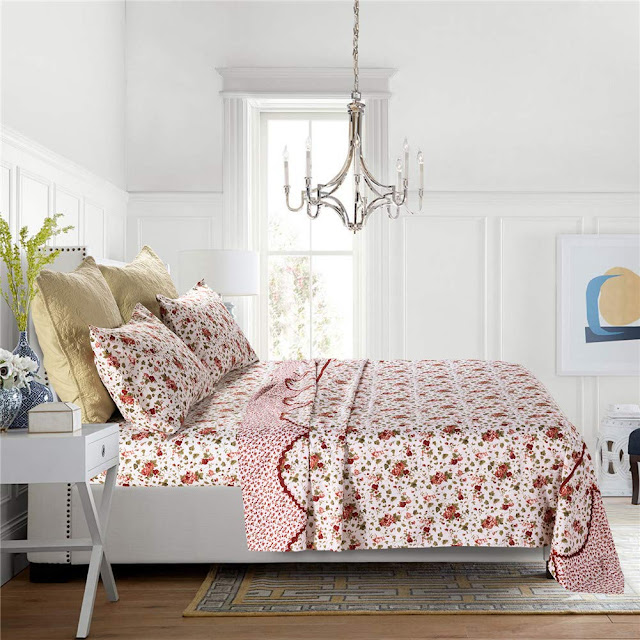 Bedlifes Floral Sheet Set Red Striped Printed Bed Sheets