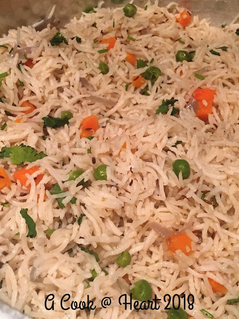 Rice Pulao with simple spices and vegetables