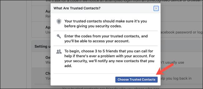 أضف جهات اتصال موثوقة على Facebook