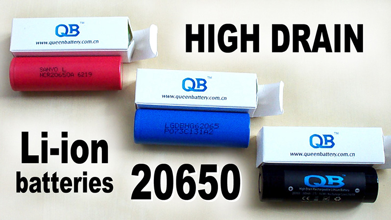 High drain 20650 Li-ion cells' discharge capacity test: Sanyo NCR20650A, LG HG6, Queen Battery QB20650