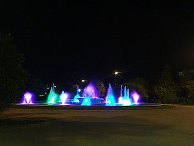 Parque grande de Zaragoza luces de colores