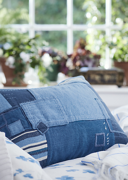 Denim quilt pillow