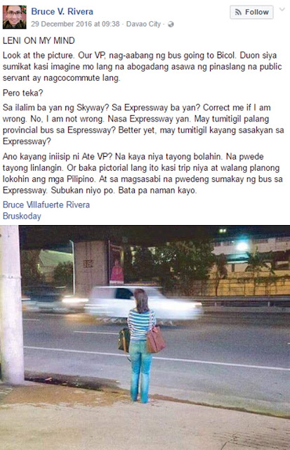 "Atty Rivera Investigates VP Leni Robredo's Commuting Pic: ""Sa Expressway Ba Yan? Correct Me If I'm Wrong. No I'm Not Wrong."""