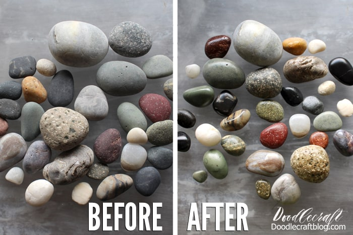 Before and After pictures of smooth beach rocks dull and dry, compared to polished with resin spray.