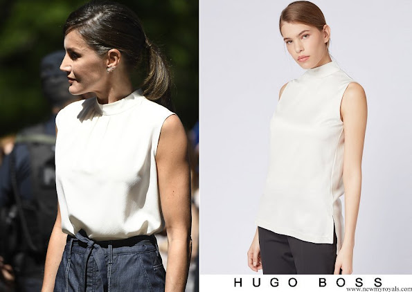 Queen Letizia wore Hugo Boss Exina sleeveless top