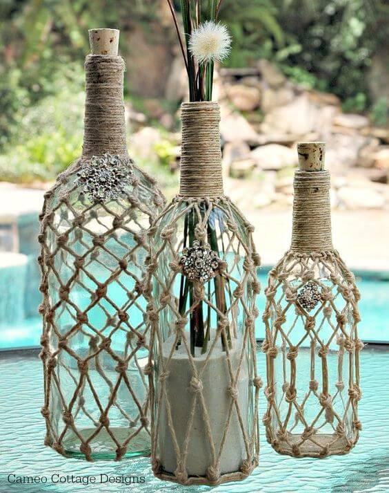 o que fazer com garrafas de vidro