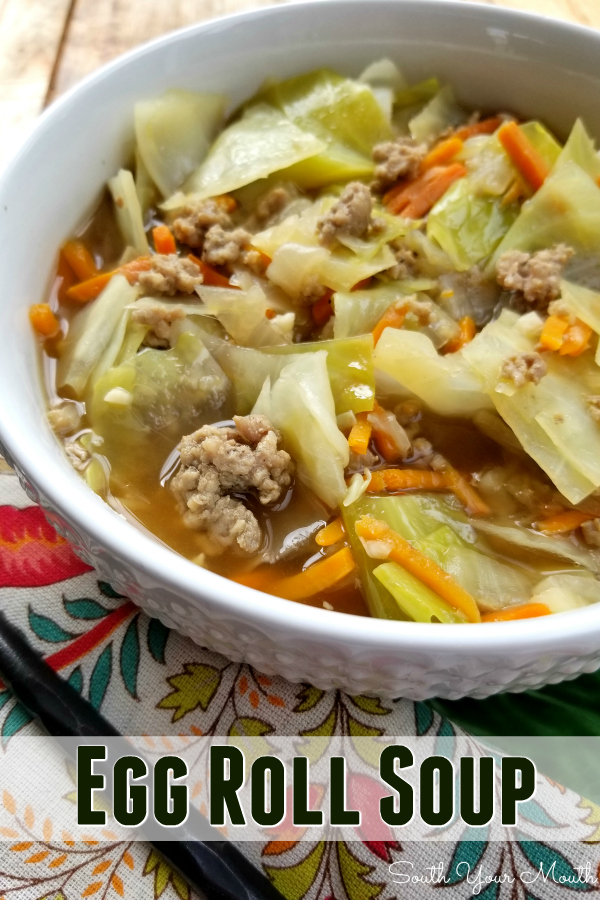 A quick and easy egg roll soup recipe bursting with fresh vegetables and bold flavors in a light broth that can easily we tweaked for #lowcarb or #keto diets. #eggroll #soup