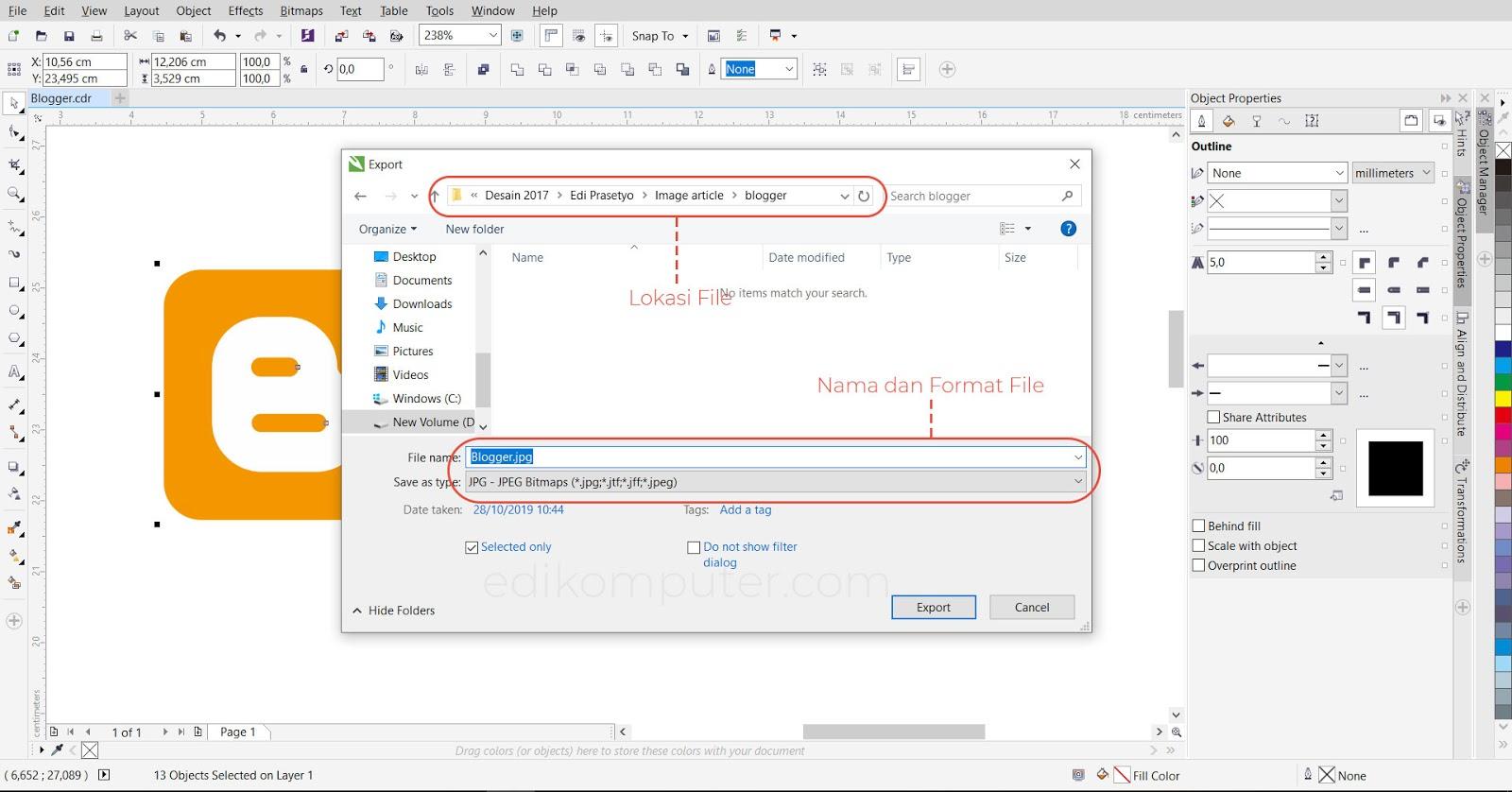 Cara eksport file corel draw menjadi bentuk jpg