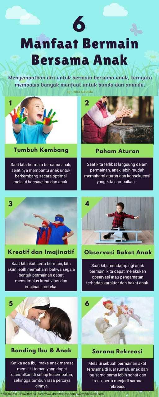 infografis 6 manfaat bermain bersama anak