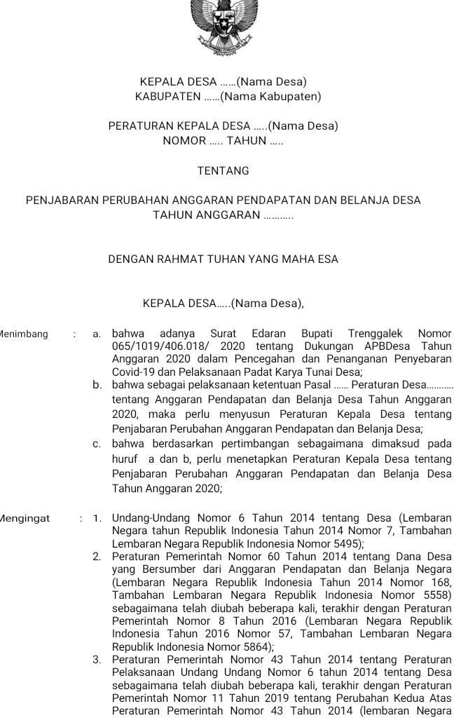 Contoh Peraturan Kepala Desa Penjabaran Perubahan APB-Desa