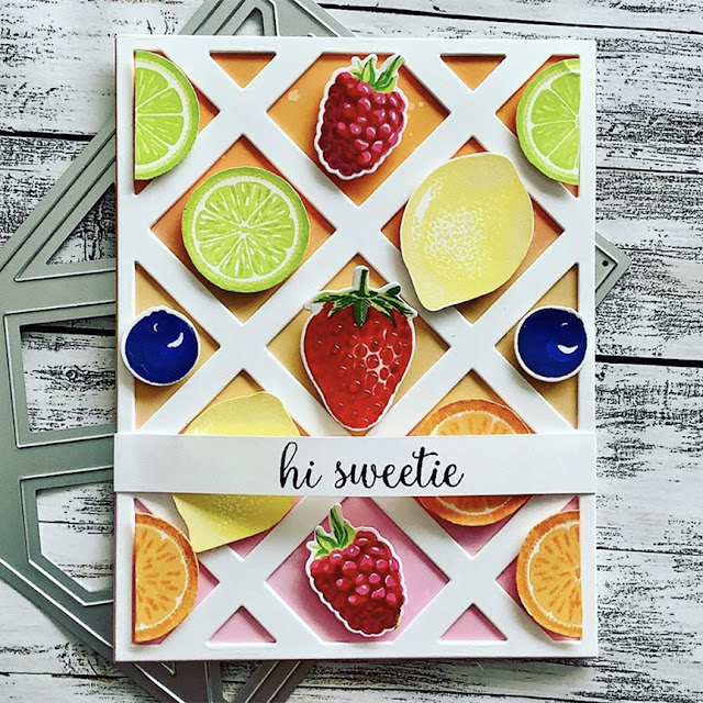 Sunny Studio Stamps: Slice Of Summer Berry Bliss Customer Card by Judy Tuck